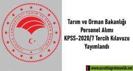 Tarım ve Orman Bakanlığı Personel Alımı için KPSS-2020/7 Tercih Kılavuzu Yayımlandı