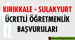 Kırıkkale Sulakyurt Ücretli Öğretmenlik Başvuruları (2020-2021)