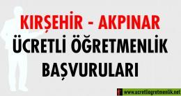 Kırşehir Akpınar Ücretli Öğretmenlik Başvuruları (2020-2021)