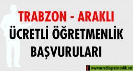 Trabzon Araklı Ücretli Öğretmenlik Başvuruları (2020-2021)