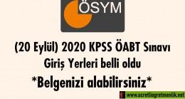 (20 Eylül) 2020 KPSS ÖABT Sınavı Giriş Yerleri belli oldu: Belgenizi alabilirsiniz