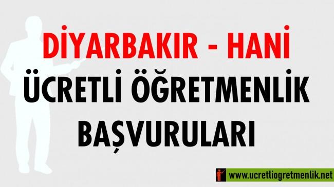 Diyarbakır Hani Ücretli Öğretmenlik Başvuruları (2020-2021)