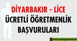 Diyarbakır Lice Ücretli Öğretmenlik Başvuruları (2020-2021)