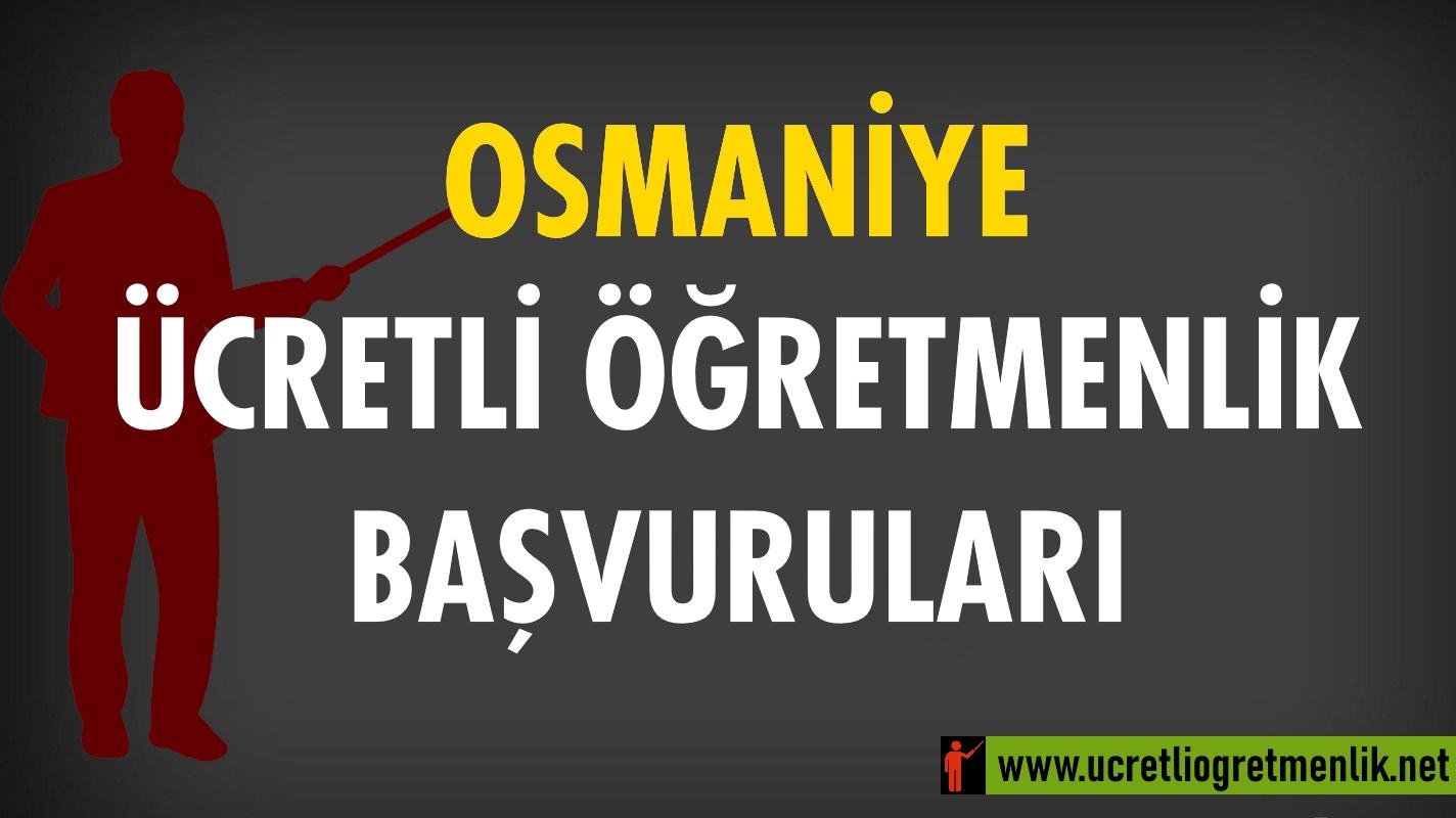 Osmaniye Ücretli Öğretmenlik Başvuruları (2020-2021)