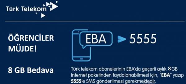 Türk Telekom 'dan 8 GB EBA Ücretsiz İnternet Nasıl Alınır?