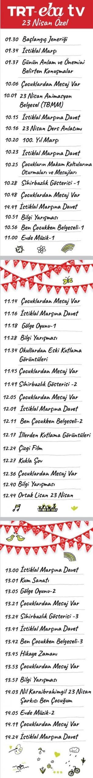 23 Nisan Özel TRT EBA TV Yayın Akışı