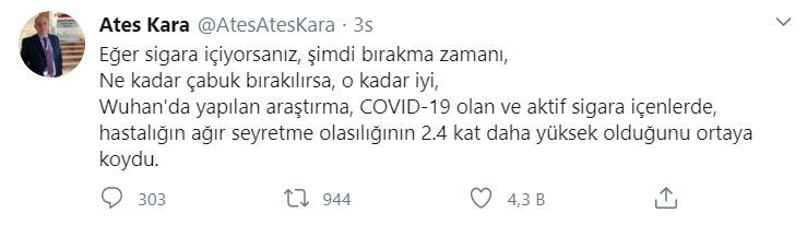 Ateş Karaa: Twitter: Sigara içenler Koronavirüsten 2,4 kat daha zor iyileşiyor