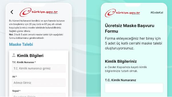 E-Devlet Ücretsiz Maske Başvuru