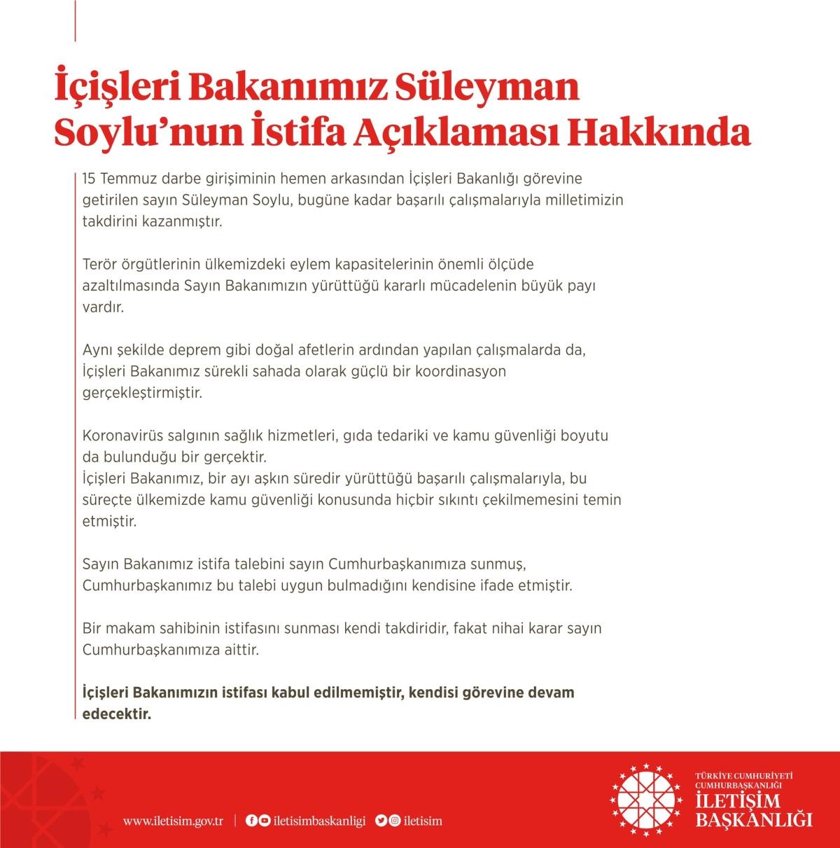 Cumhurbaşkanlığı İletişim Başkanlığı - Süleyman Soylu istifa açıklaması