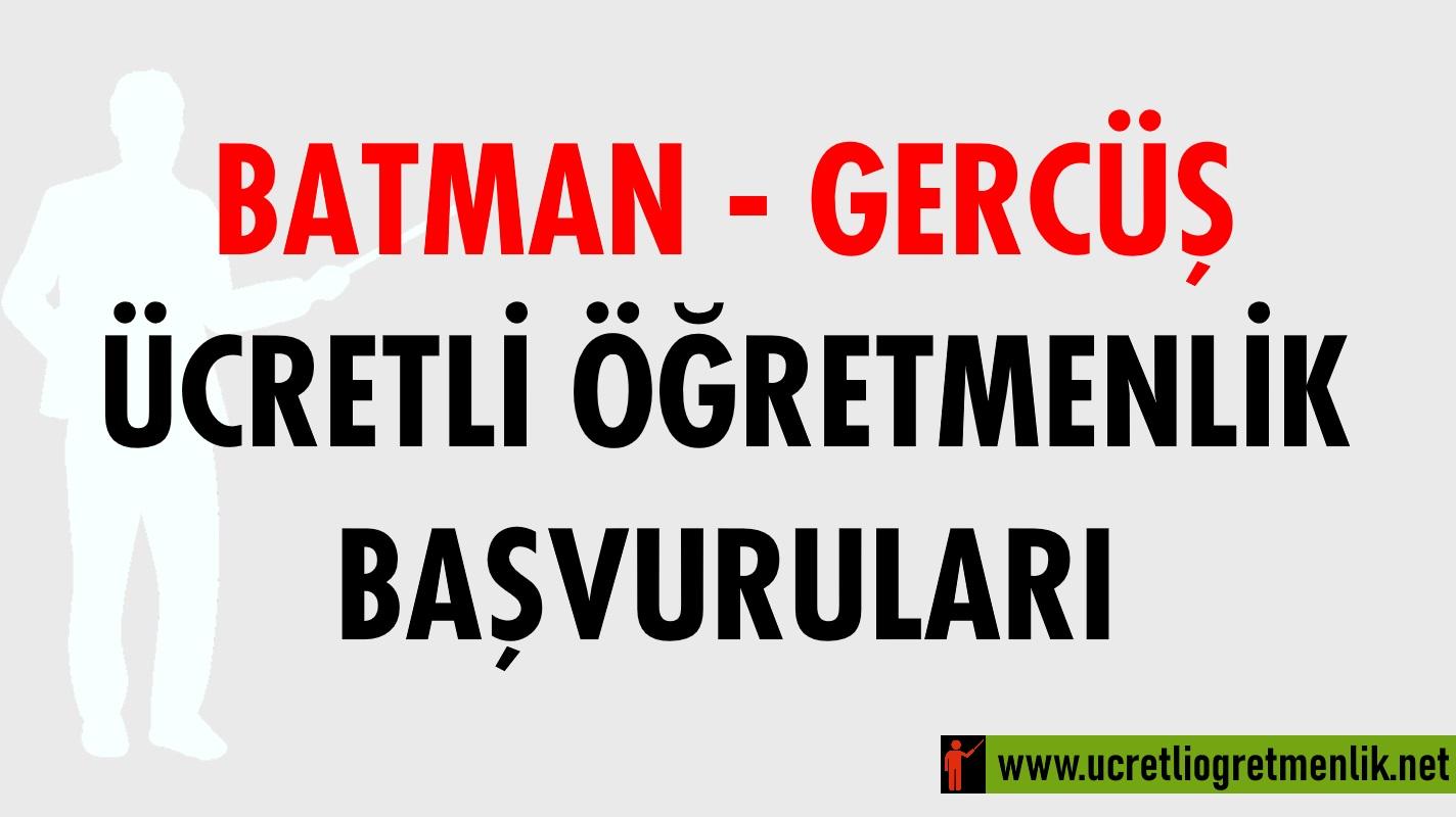 Batman Gercüş Ücretli Öğretmenlik Başvuruları (2020-2021)
