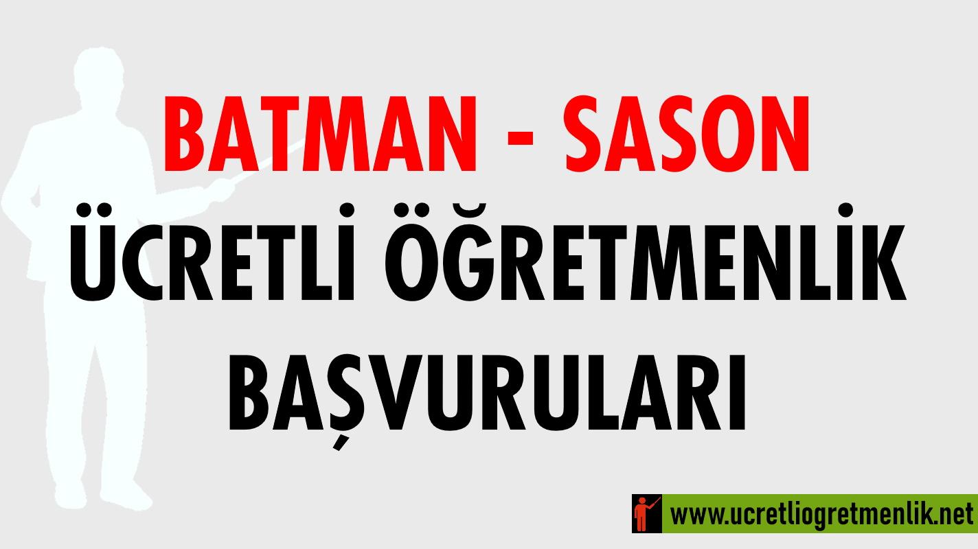 Batman Sason Ücretli Öğretmenlik Başvuruları (2020-2021)