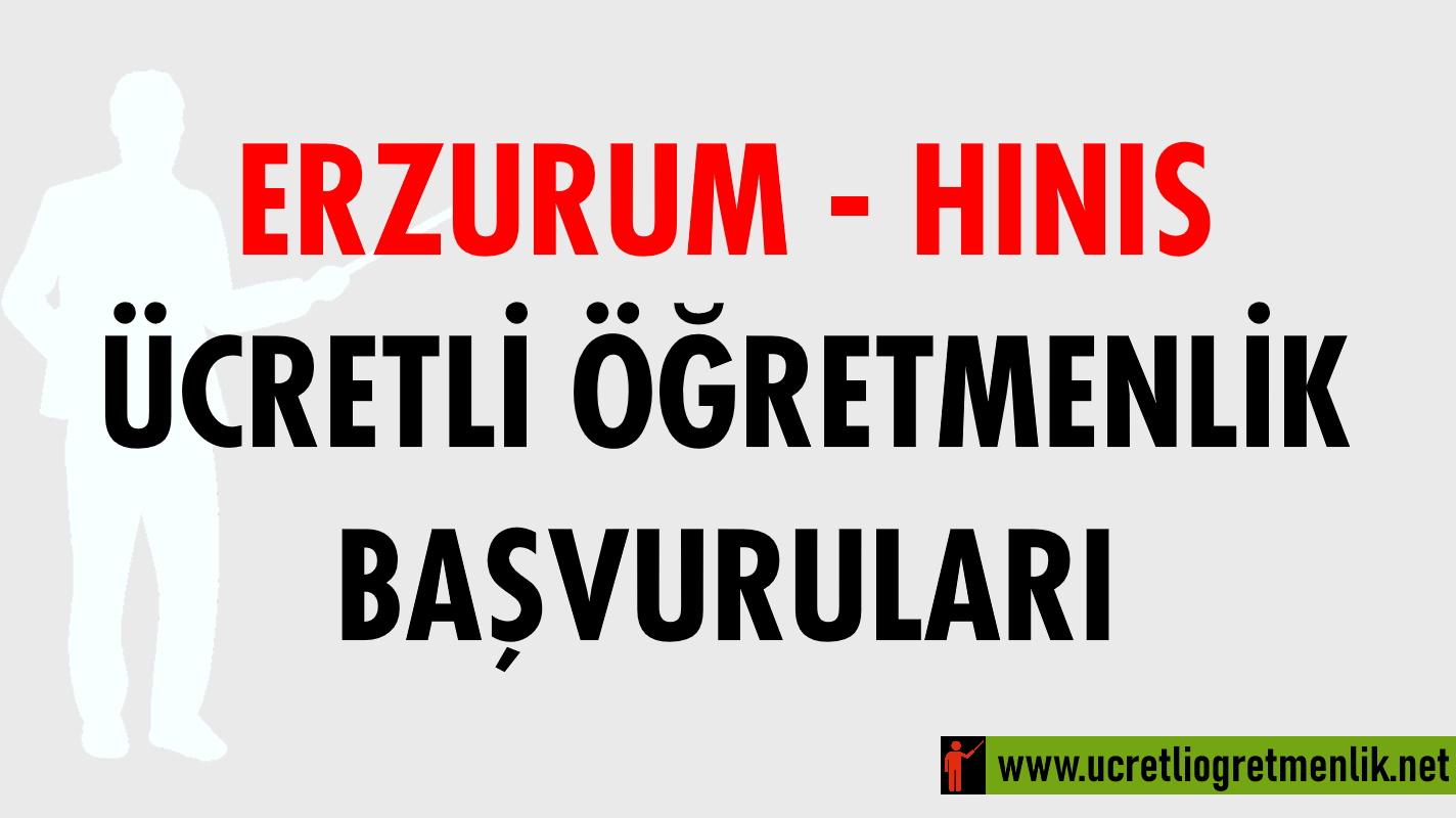 Erzurum Hınıs Ücretli Öğretmenlik Başvuruları (2020-2021)