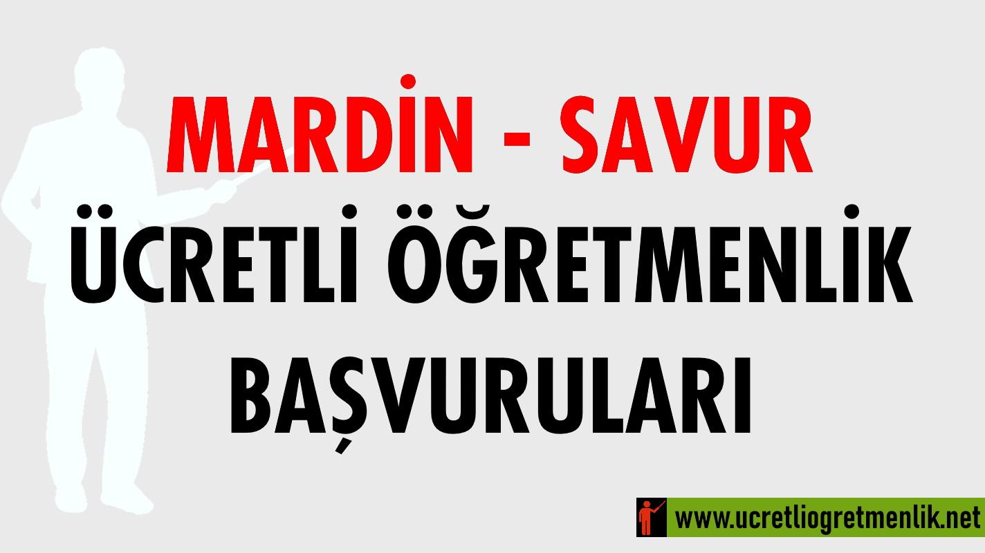 Mardin – Savur Ücretli Öğretmenlik Başvuruları (2020-2021)