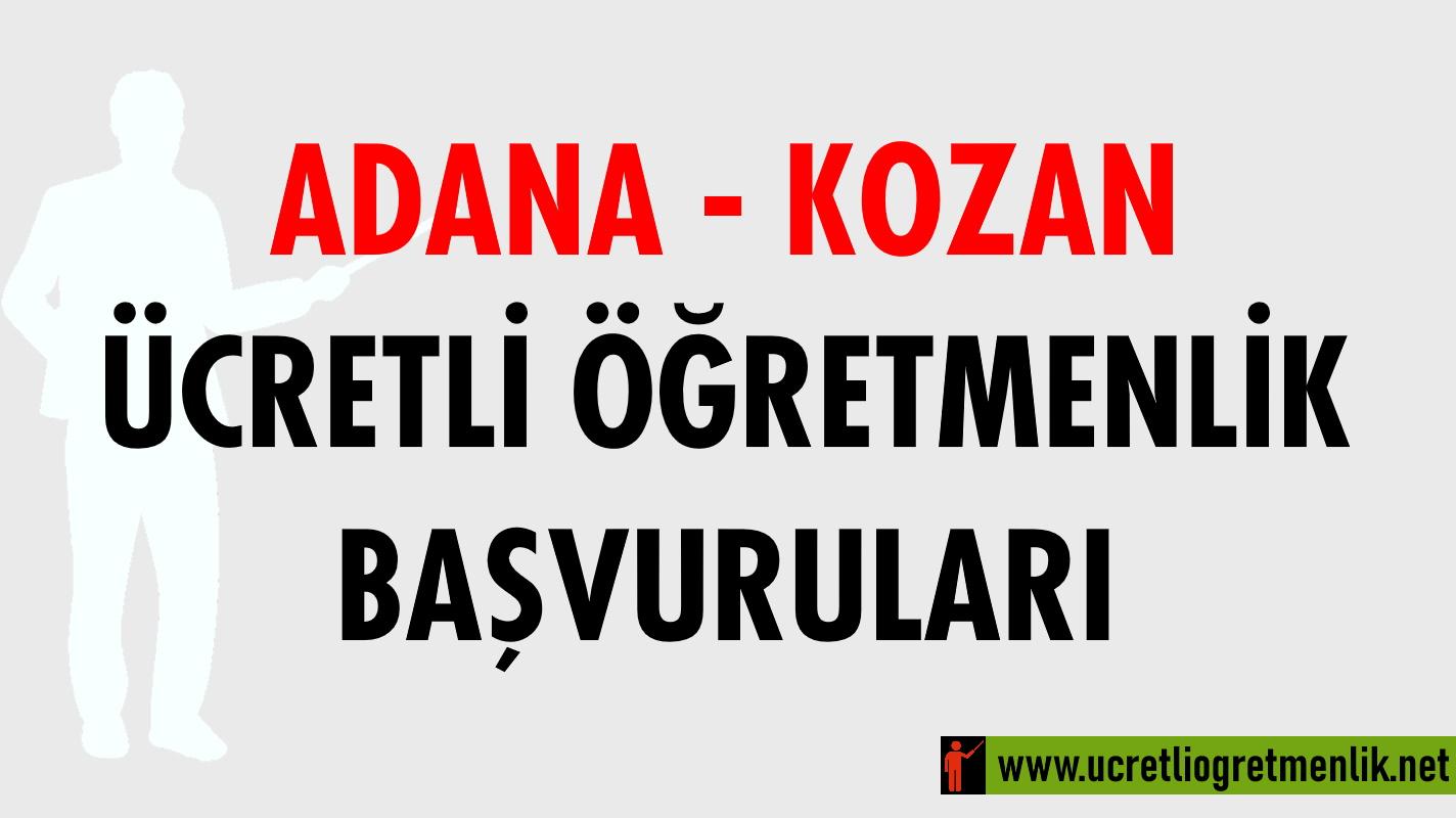 Adana Kozan Ücretli Öğretmenlik Başvuruları (2020-2021)