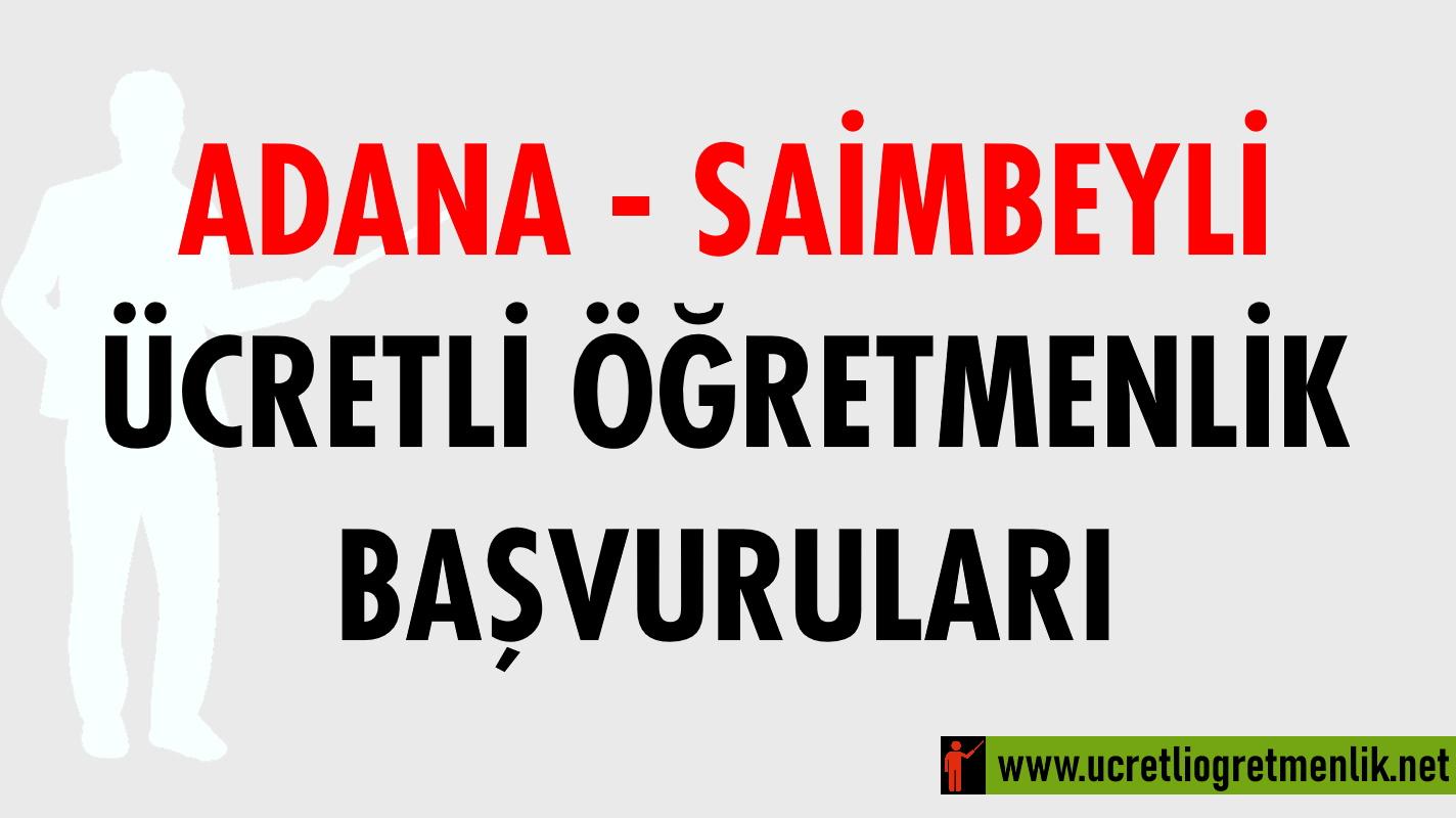 Adana Saimbeyli Ücretli Öğretmenlik Başvuruları (2020-2021)