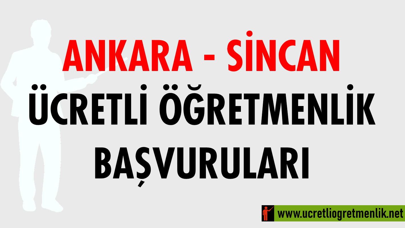 Ankara Sincan Ücretli Öğretmenlik Başvuruları (2020-2021)
