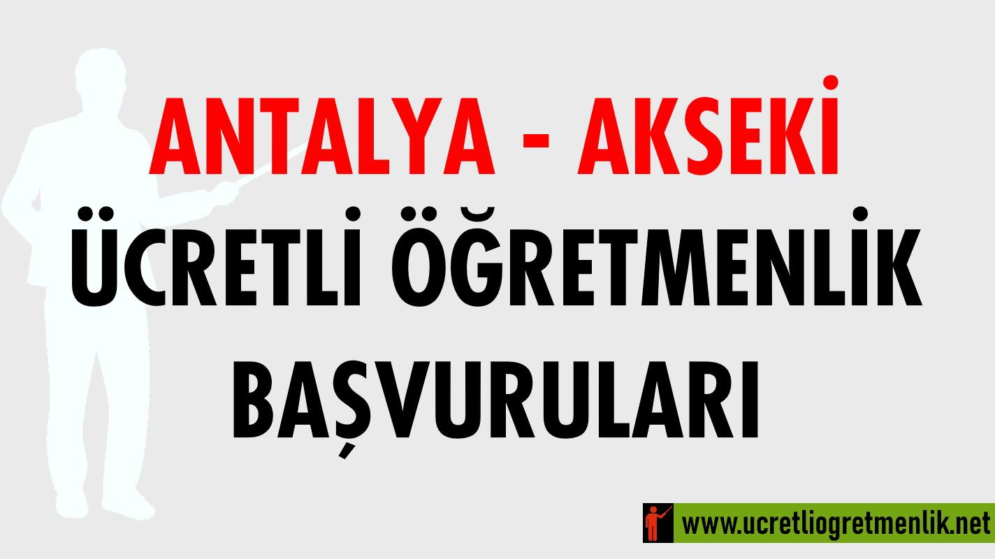 Antalya Akseki Ücretli Öğretmenlik Başvuruları (2020-2021)