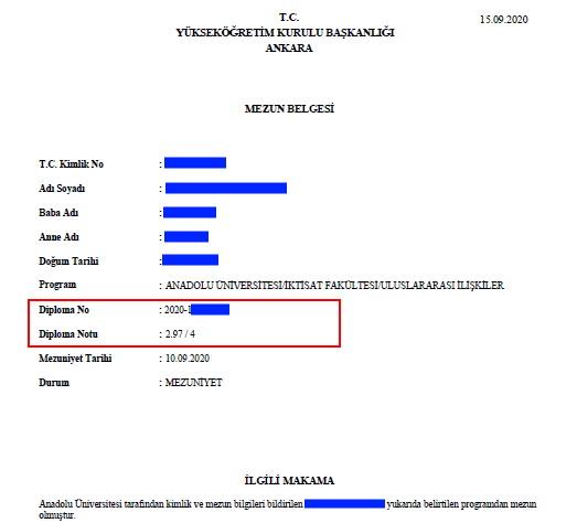 AÖF Mezun Belgesi üstünde Diploma Numarası ve Notu