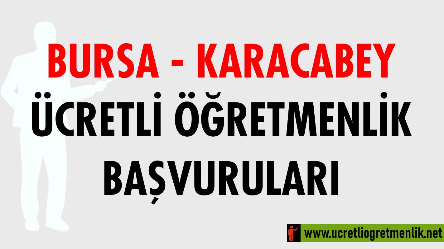 Bursa Karacabey Ücretli Öğretmenlik Başvuruları (2020-2021)