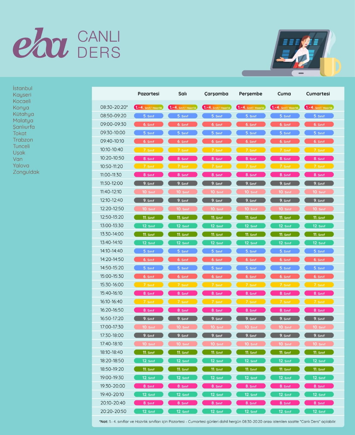 EBA Canlı Ders Gün ve Saatleri (21-25 Eylül 2020)