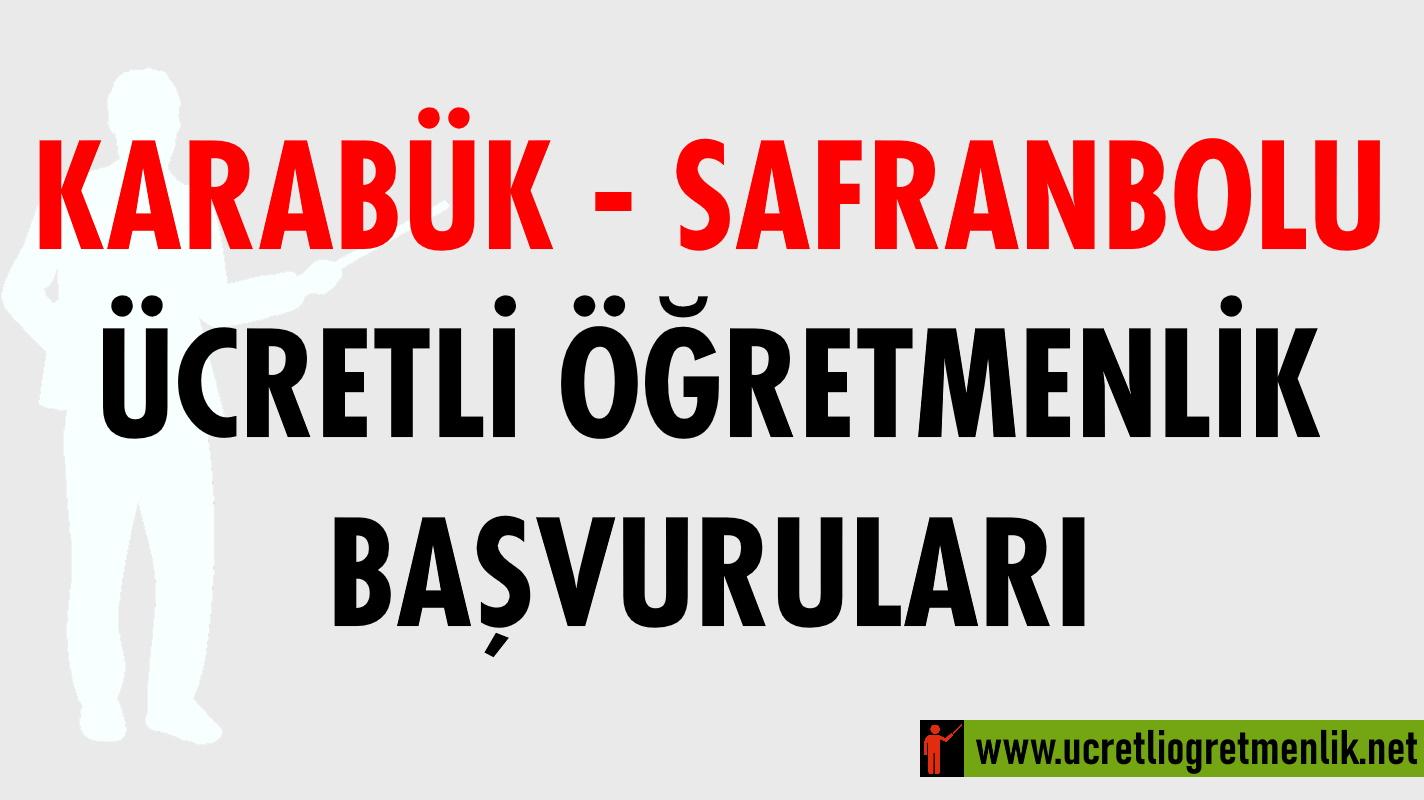 Karabük Safranbolu Ücretli Öğretmenlik Başvuruları (2020-2021)