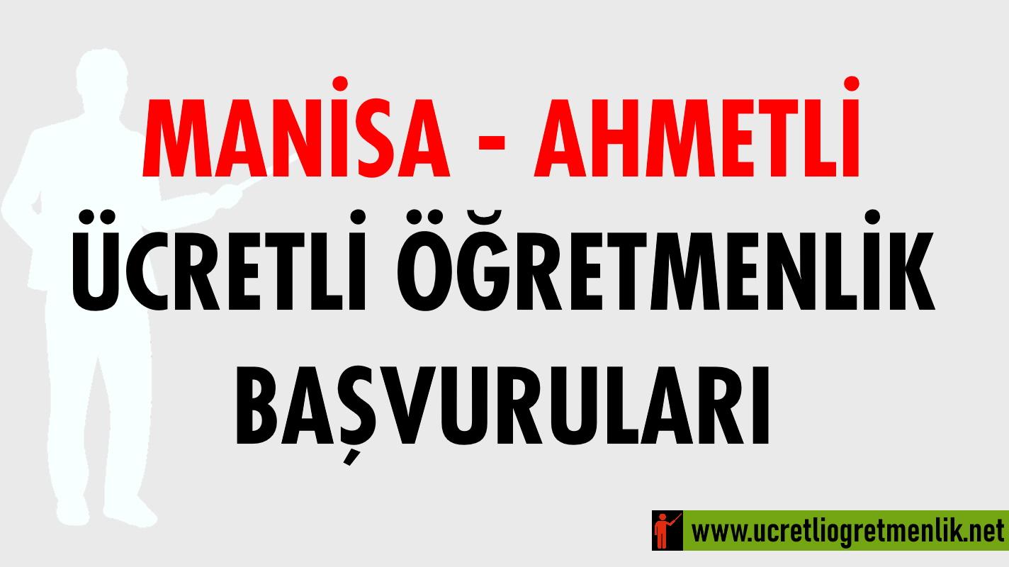 Manisa Ahmetli Ücretli Öğretmenlik Başvuruları (2020-2021)